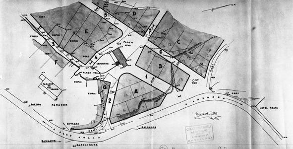 plànol de la urbanització projectada per Martinell el 1967, amb els nous carrers que preveia.