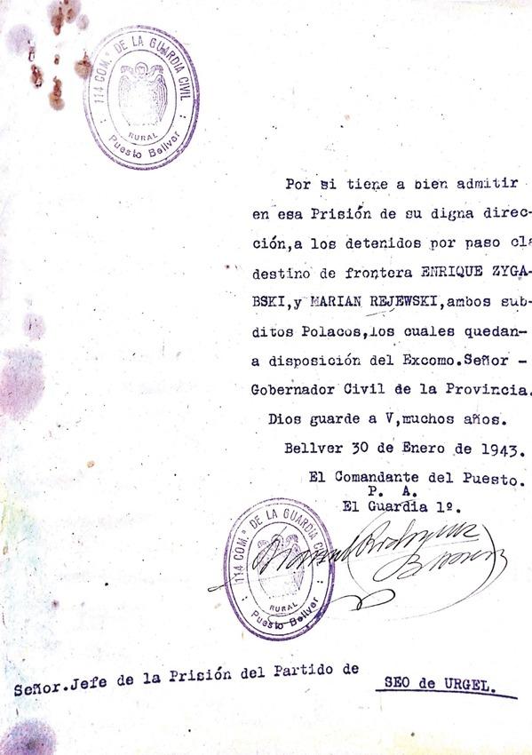 """Expedient amb l'ingrés dels matemàtics polonesos Marian Rejewski i Henry Zygalski a la presó de la Seu l'endemà de ser detinguts per """"pas clandestí"""" (30 de gener del 1943)."""