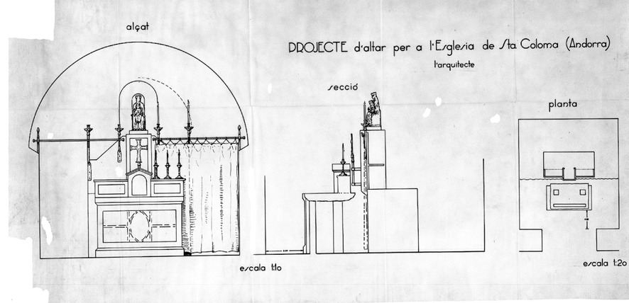 l'altar-sagristia de Santa Coloma projectat el 1933 per l'arquitecte, que va ser eliminat el 1976.