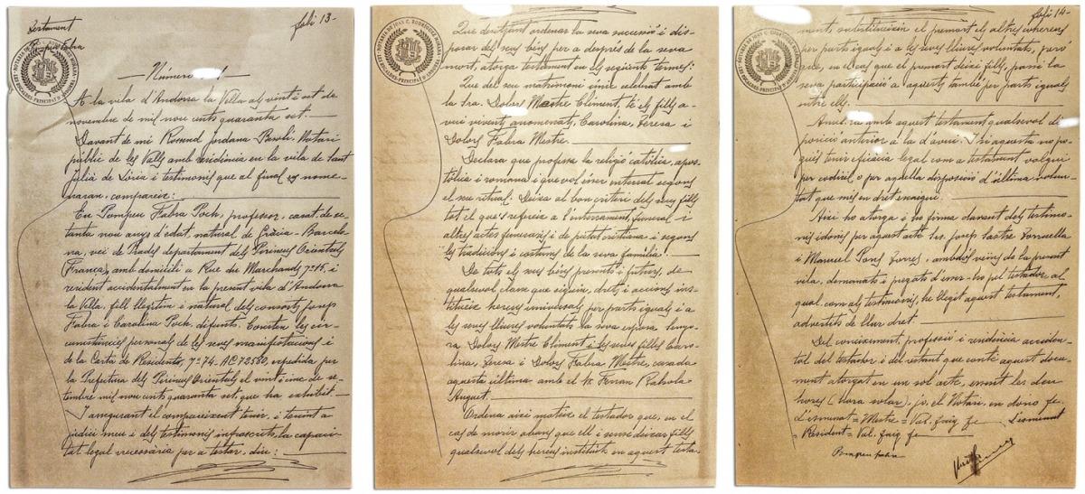 Còpia de les tres pàgines del document, que s'exposa a l'edifici administratiu gràcies a l'autorització dels nets de l'autor de les 'Normes ortogràfiques' (1913), de la 'Gramàtica catalana' (1918) i del 'Diccionari general' (1931).