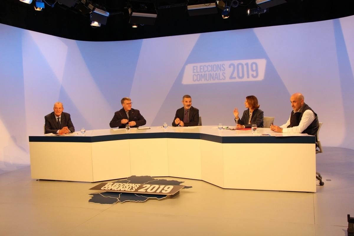 Els caps de llista de les quatre formacions que es presenten a les eleccions comunals a Escaldes-Engordany en el debat televisiu d'ahir.