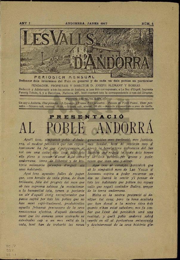Andorra, llibertart de premsa, Les Valls d'Andorra, Arxiu Nacional, Josep Alemany