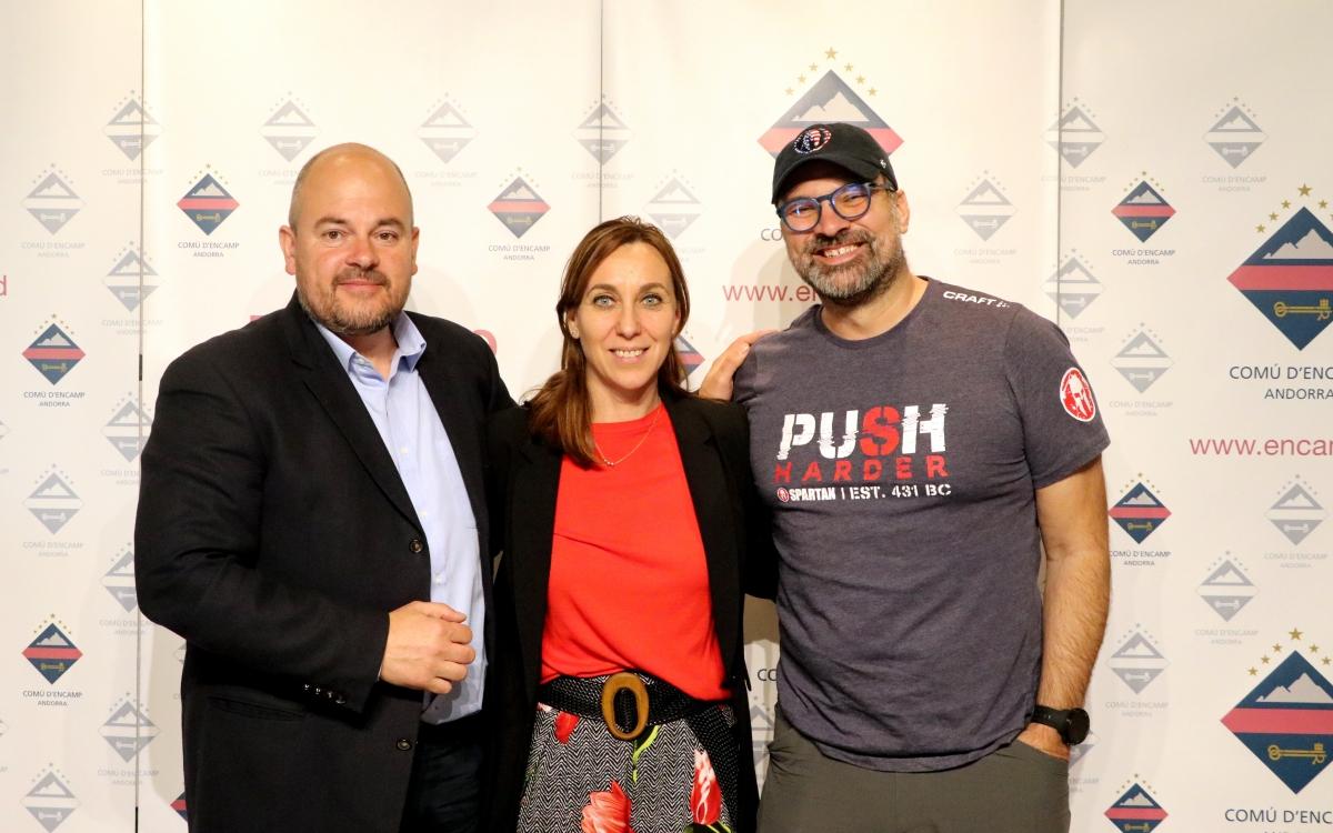 Noemí Pedra, Jordi Torres i Ángel Sanz van presentar ahir la quarta edició de l'Spartan Race Encamp d'aquest cap de setmana.