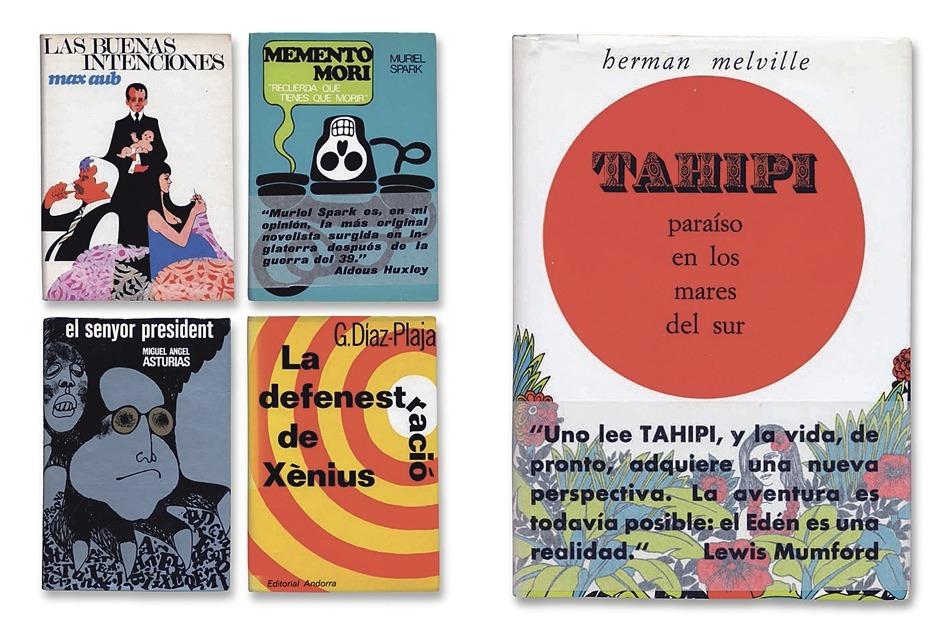 Portades d'algunes de les novel·les publicades en la breu etapa d'Aymà al capdavant d'Editorial Andorra dintre de la col·lecció Valira, amb cobertes pop del dissenyador C. Torres i impreses a Filograf.