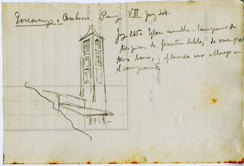 Croquis de l'església de Santa Eulàlia amb anotacions manuscrites de Domènech i Montaner.