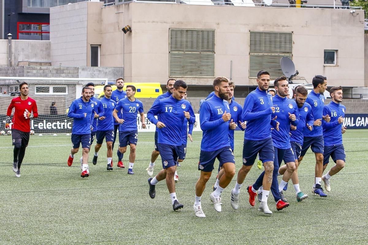 Un moment de l'últim entrenament de la selecció nacional abans del partit d'avui contra la campiona del món.