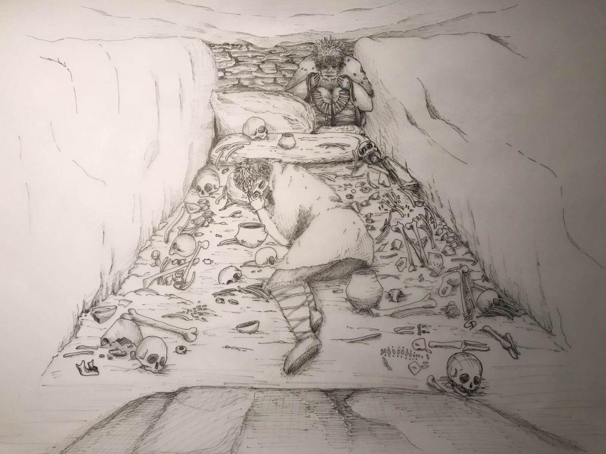 Esbós de la cambra principal del dolmen de la Llosa; al fons, la rerecambra que s'utilitzava com a ossari (Il·lustració: Olga Palma).