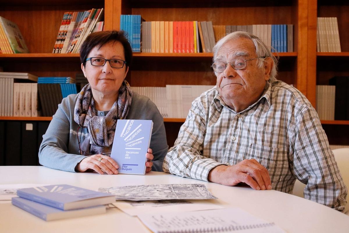 PIlar Burgués i Sergi Mas, ahir a la seu d'Editorial Andorra; el volum es presenta aquesta tarda a La Llacuna.