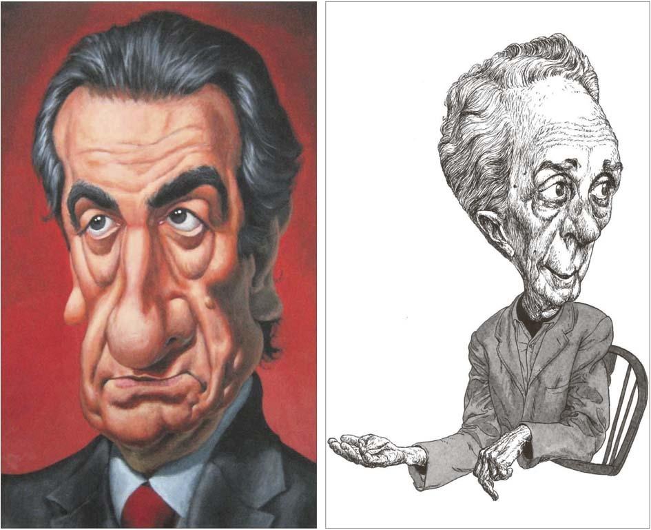 El polític Jaume Bartumeu (acrílic sobre, fusta, 2012), i el pintor nord-americà Norman Rockwell (tinta sobre paper, 2017).