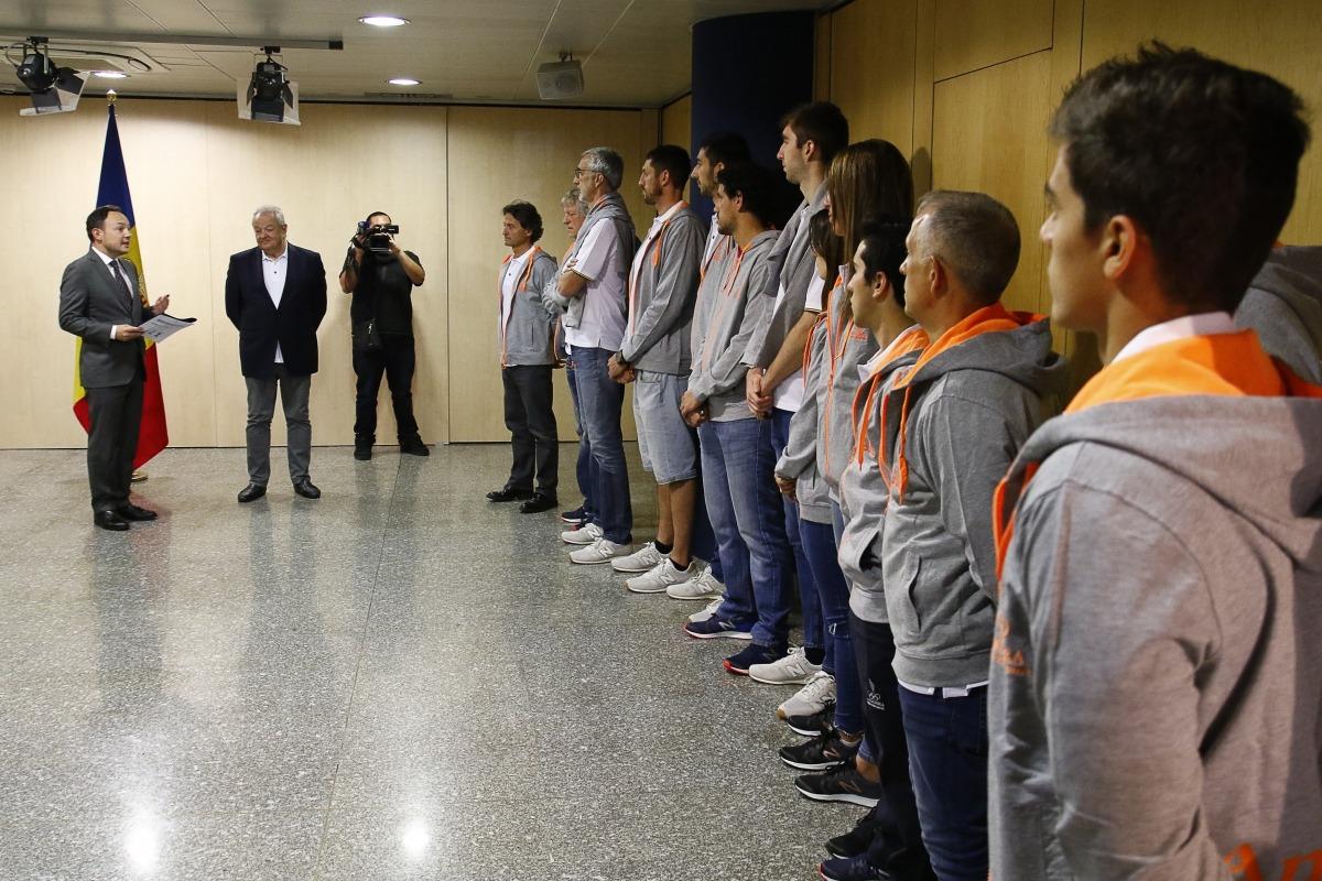 El cap de Govern, Xavier Espot, va rebre ahir els esportistes que representaran Andorra als Jocs Europeus de Minsk.