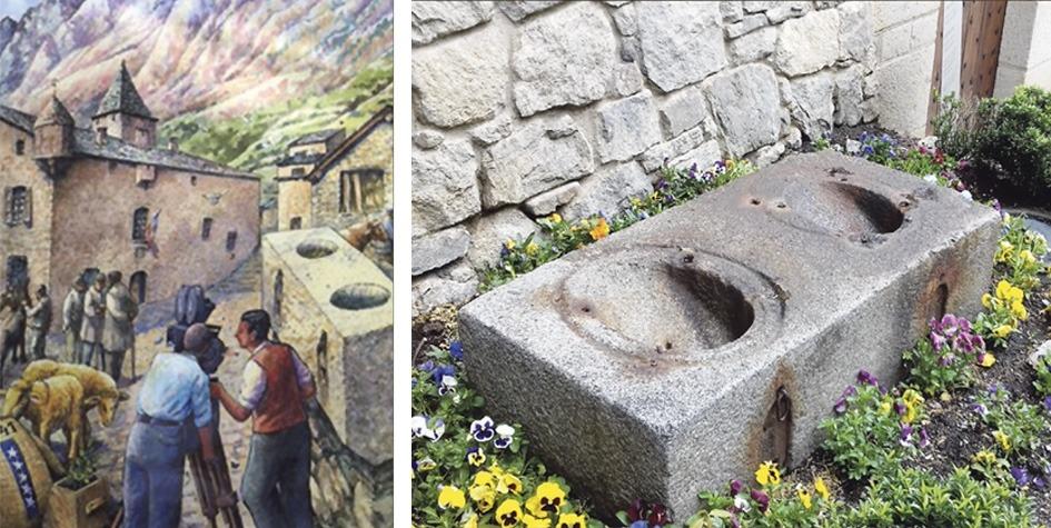 Reconstrucció ideal de les mesures, segons un dibuix de Sergi Mas, i els dos embuts sense portella de la peça original, semienterrada a la part posterior de la Casa de la Vall.