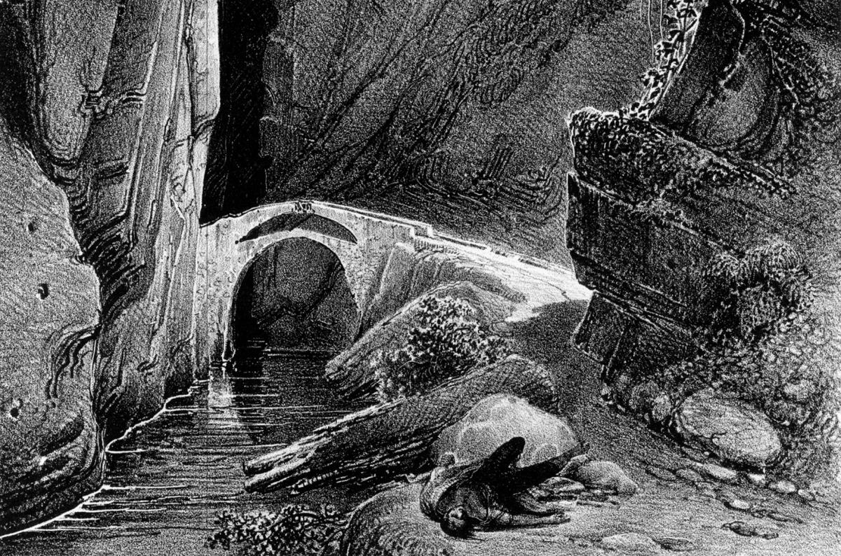 Detall del Pont del Diable, al congost de Tresponts (segle XIX).