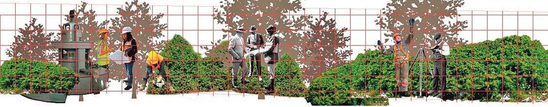 Quadrícula de l'escena, que ajuda l'artista a traslladar el dibuix al mur.