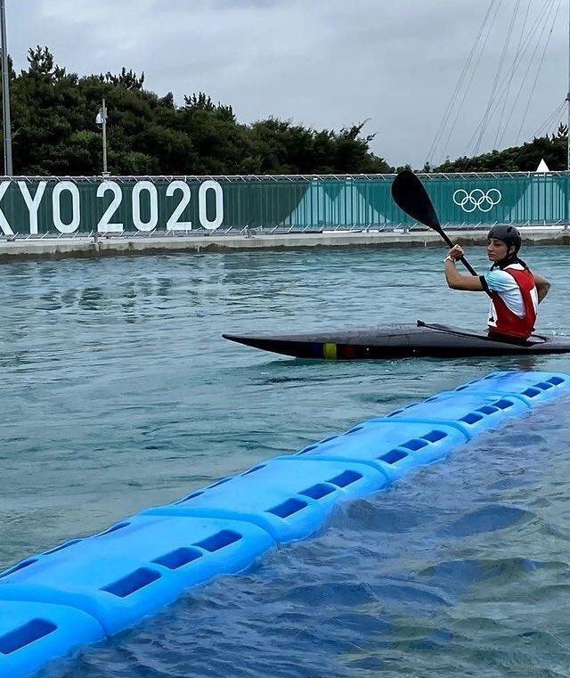 Mònica Doria, al Kasai Slalom Centre de Tòquio als Jocs Olímpics. Foto: Twitter