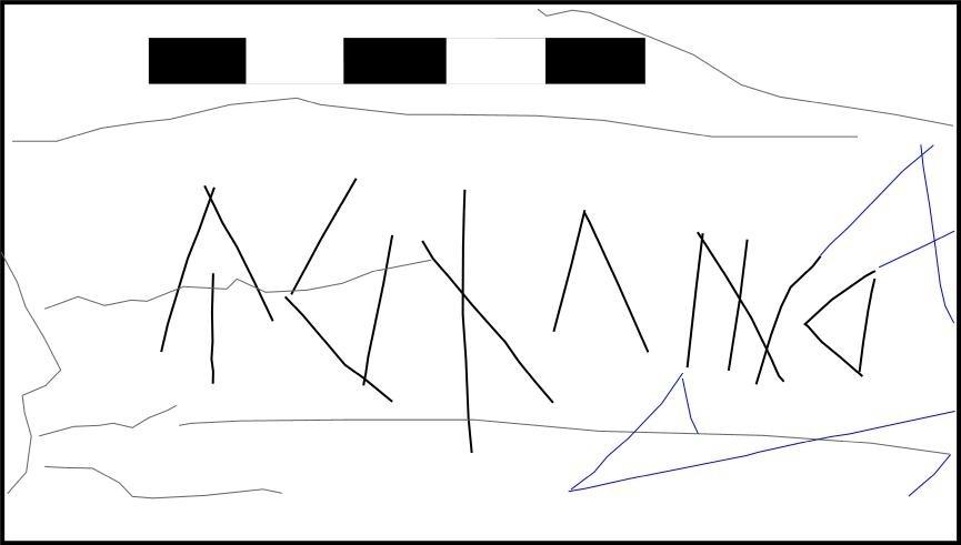 El gravat, que només un ull expert podria identificar, no fa més de deu centímetres de llargada; a baix, la transcripció que n'ha fet Joan Ferrer, màxima autoritat en paleografia ibera. Segons ell, hi diu 'Urdalir', i és parent dels gravats localitzats a l'abric Tarragón de València.