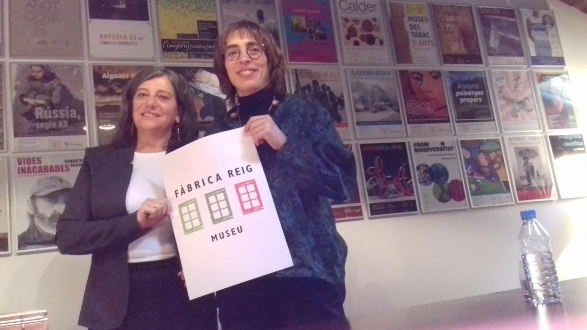 Maria Martí i Dèborah Ribas mostren per primera vegada en públic la nova denominació, Fàbrica Reig Museu.