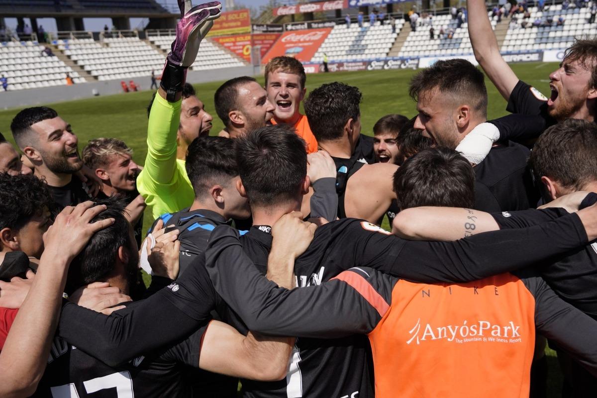 L'FC Andorra va celebrar al Camp d'Esports de Lleida la classificació a la primera RFEF. Foto: FC Andorra