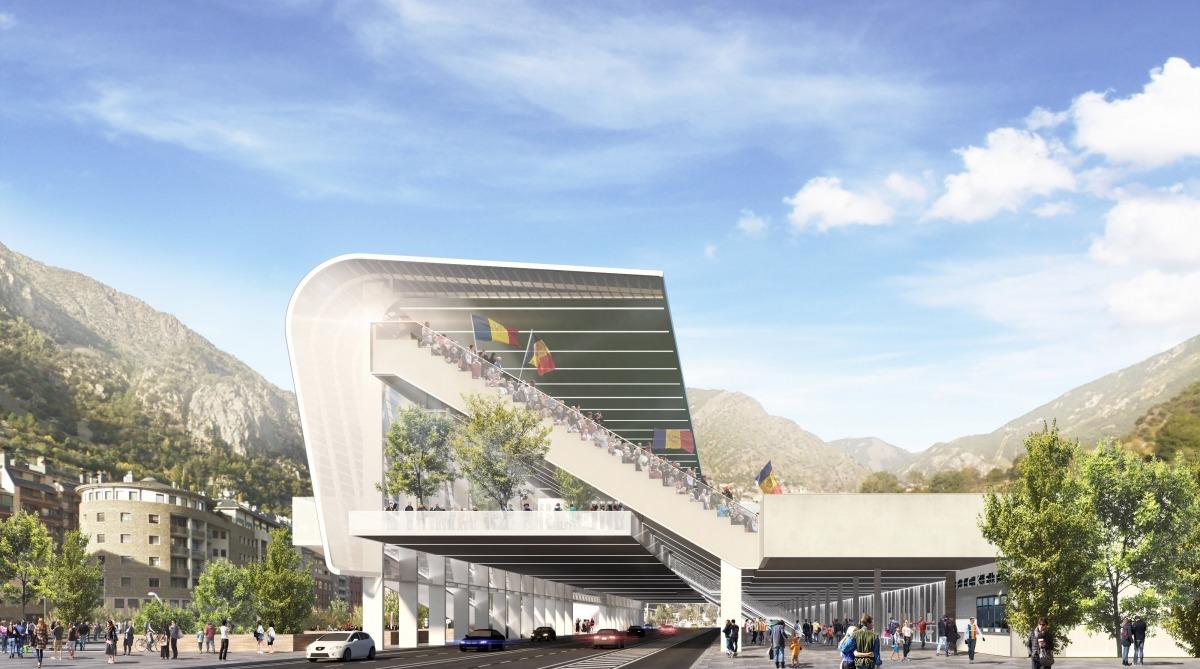 L'Estadi Comunal tindria un estil de graderia similar, salvant les distàncies, al Vicente Calderón. Foto: Comú d'Andorra la Vella
