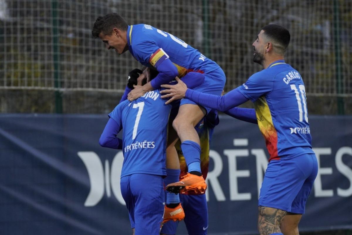 Els jugadors de l'FCA celebren el gol d'Iker. Foto: FC Andorra