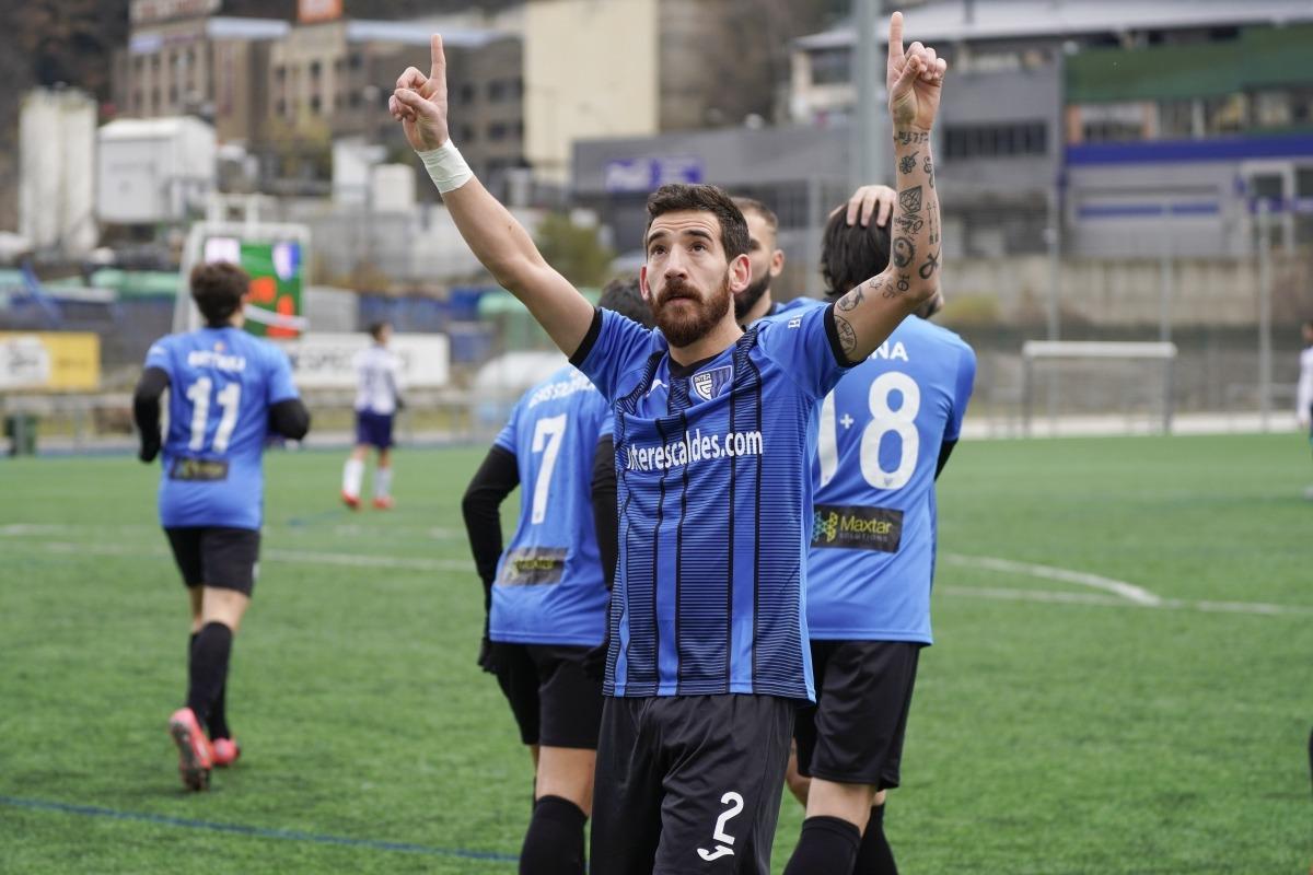 'Kiki', de l'Inter, va dedicar l'únic gol del partit a la malaguanyada Luisa del Trèvol Verd. Foto: Interescaldes.com