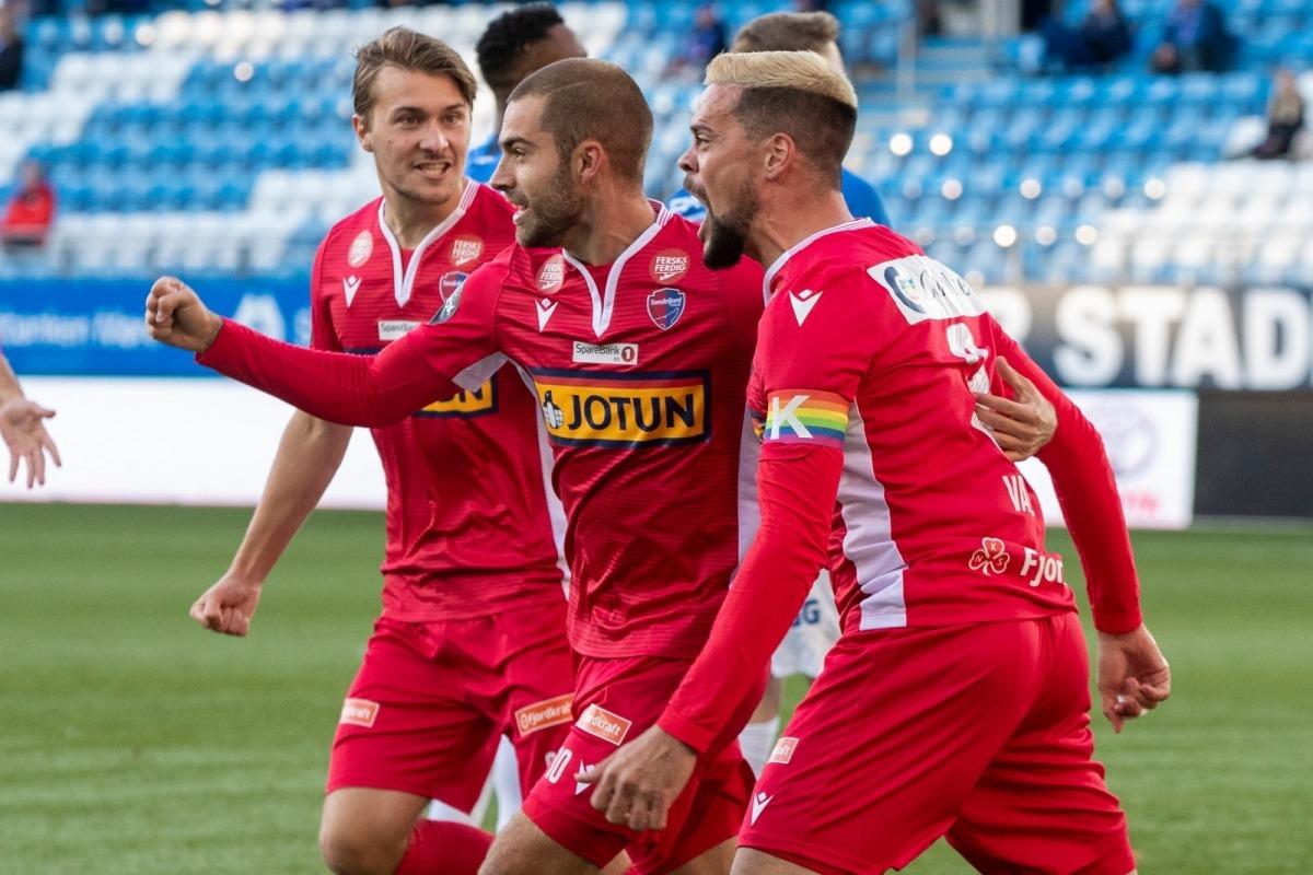 Marc Vales celebra un gol el curs passat amb el Sandefjord Fotball noruec. Foto: Sandefjord
