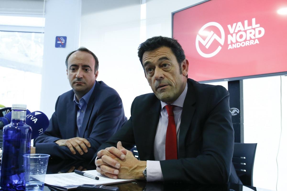 Els cònsols d'Ordino i la Massana en la presentació de l'acord per mantenir el forfet i la marca Vallnord, fa poc més d'un any.