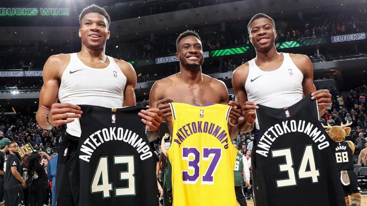 Kostas, Thanasis i Giannis, tres dels quatre germans Antetokounmpo, campions de l'NBA. Foto: Twitter