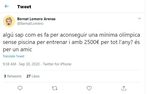 El 'tweet' del nedador Bernat Lomero