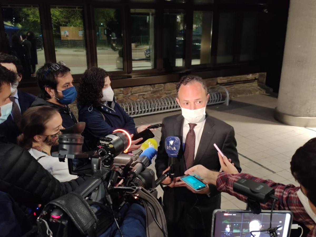 El cap de Govern, Xavier Espot, en la roda de premsa d'ahir al vespre.