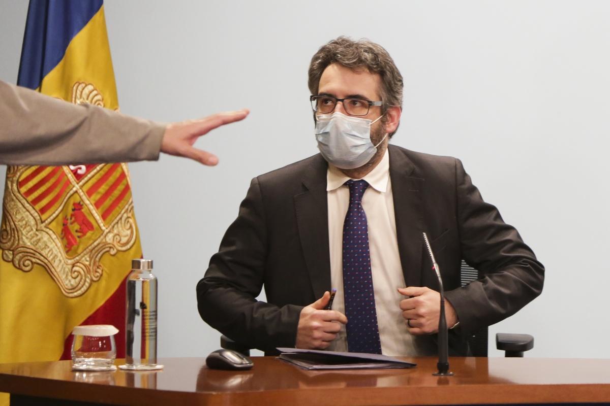 El ministre portaveu, Eric Jover, abans d'iniciar la compareixença posterior al consell de ministres d'ahir.