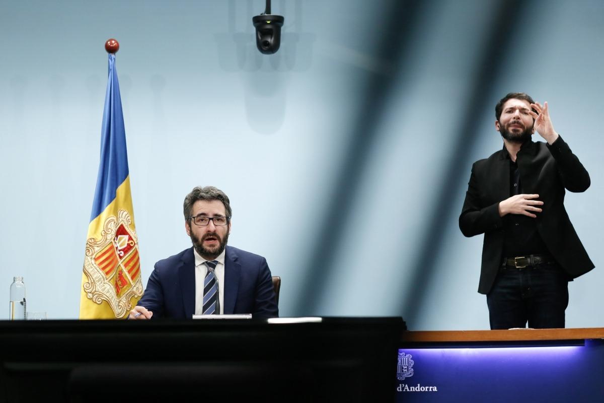 El ministre de Finances i portaveu de l'executiu, Eric Jover, en la compareixença d'ahir al vespre.