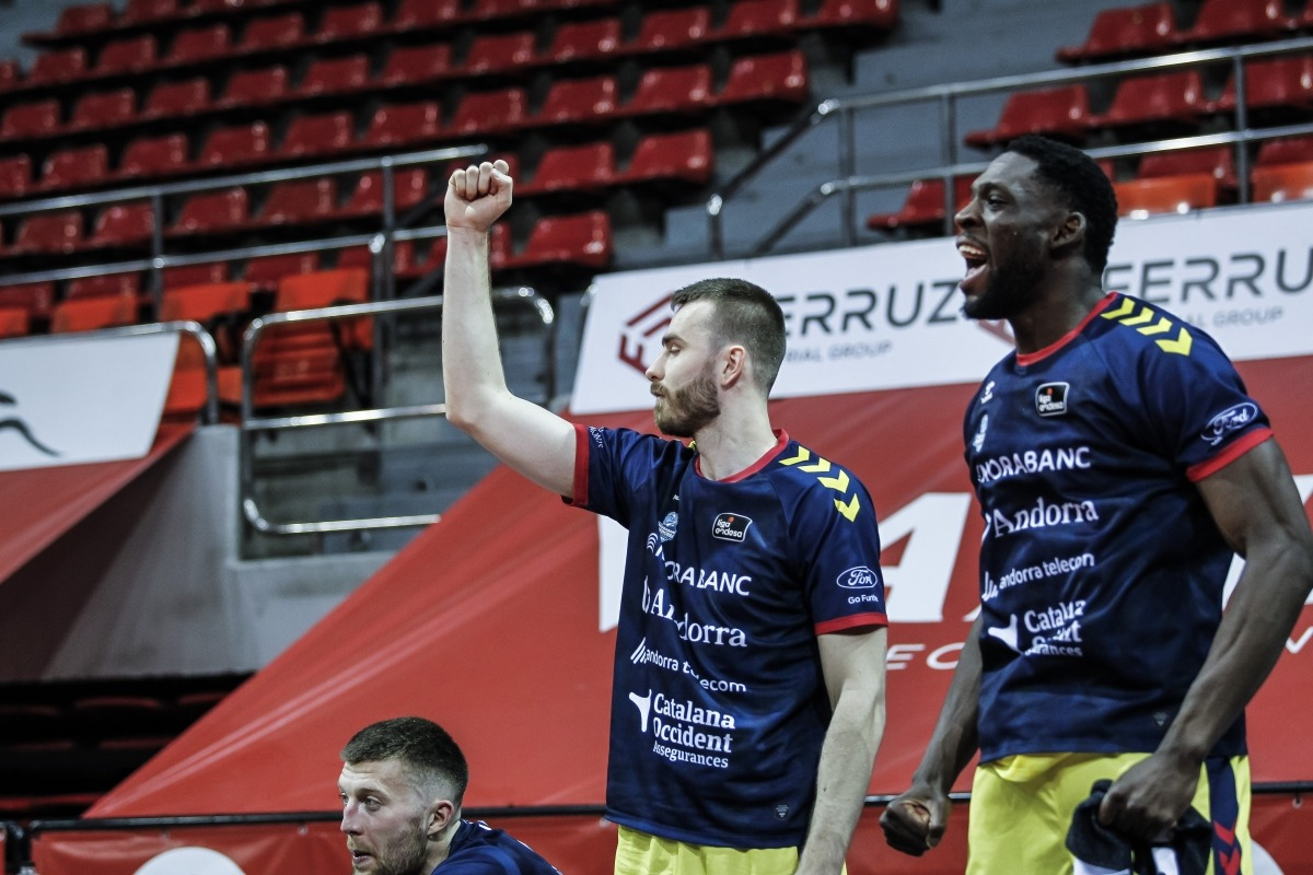 El BC MoraBanc 'celebra' descansar i no jugarà, de moment, contra Unicaja Màlaga. Foto: ACB Photo / E. Casas