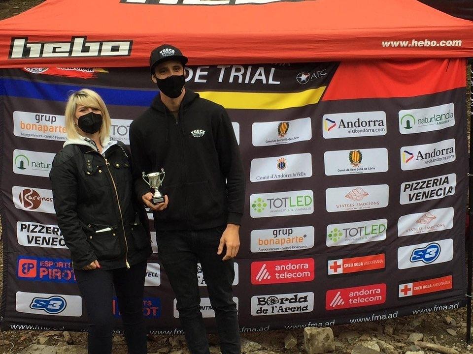 Pol Tarrés assoleix la victòria a la quarta prova del Campionat d'Andorra de Trial. Foto: FMA