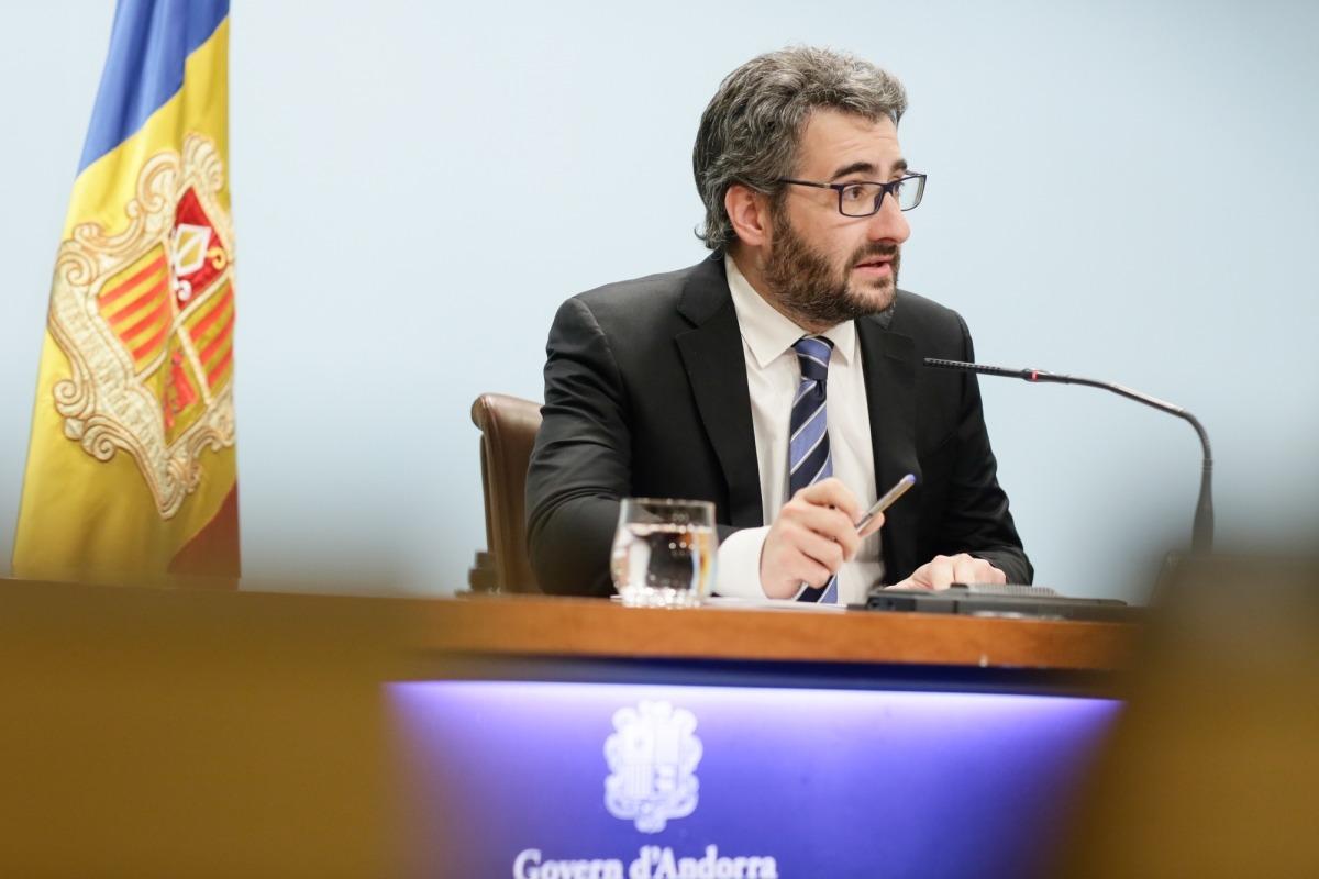 El ministre portaveu, Eric Jover, durant la seva compareixença d'ahir.