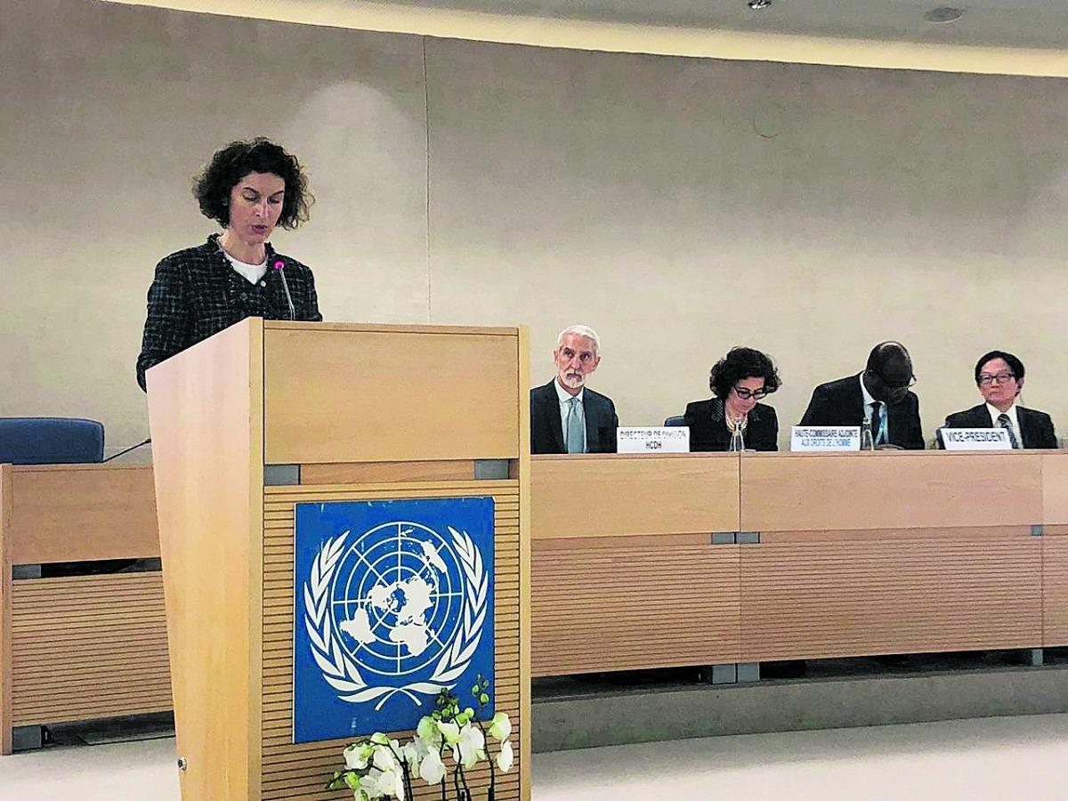 La ministra Ubach durant la seva intervenció.