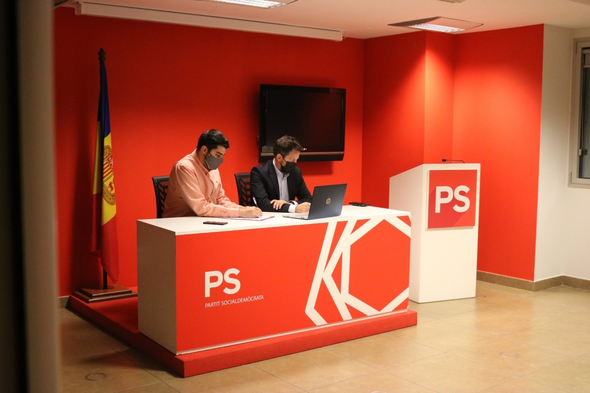 Pere Baró i Pere López en una roda de premsa telemàtica..