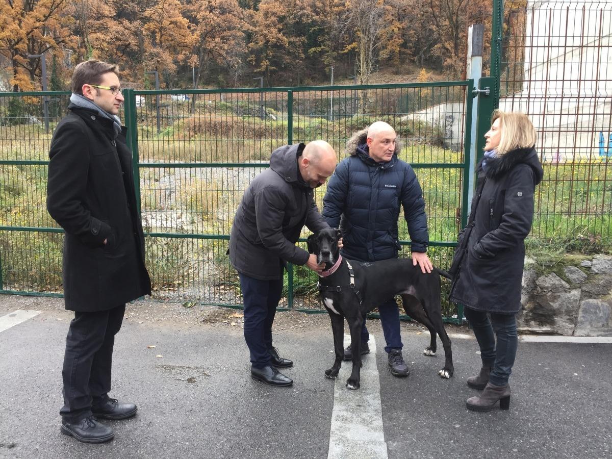 Els candidats de DA, amb un gos, davant dels terrenys on hi hauria el parc.