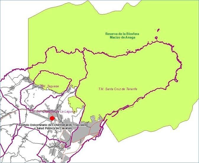Mapa de la Reserva de la Biosfera del Massís d'Anaga