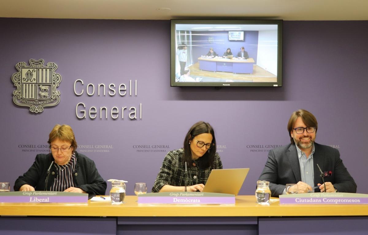 Els consellers generals de la majoria, Sílvia Ferrer, Ester Molné i Carles Naudi.