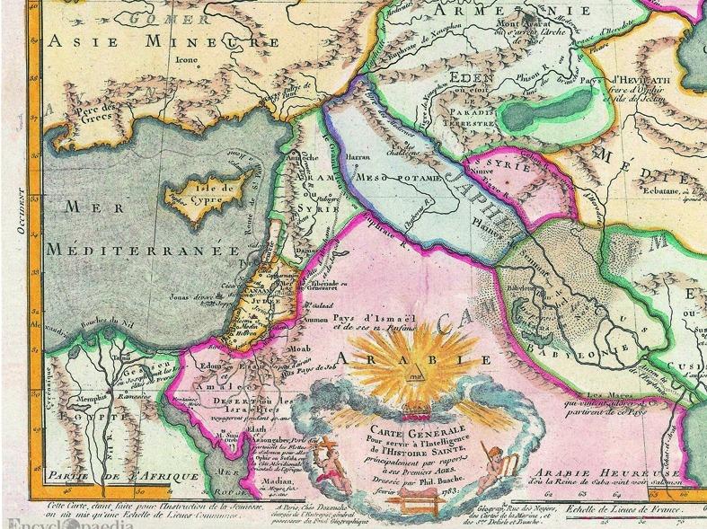 'Carte Générale pour servir à l'Historie Sainte' (Philippe Buache, 1783), conservat a la col·lecció Rouben Galichian de Londres que, atenció, ubica el jardí de l'Edèn (!) dintre del territori històric d'Armènia.