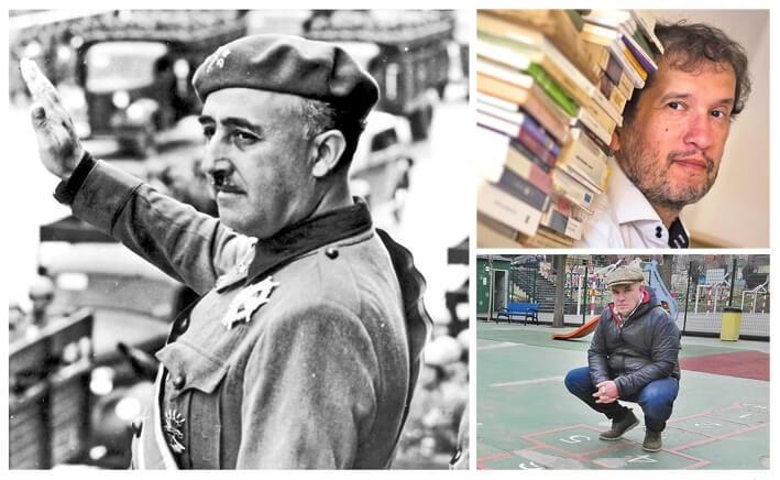 Franco, en algun moment del 1937, en plena Guerra Civil espanyol; a baix, l'escriptor rossellonès Joan-Lluís Lluís, autor de 'Jo soc aquell que va matar Franco', i Albert Villaró, que ho és d''El sindicat de l'oblit'.