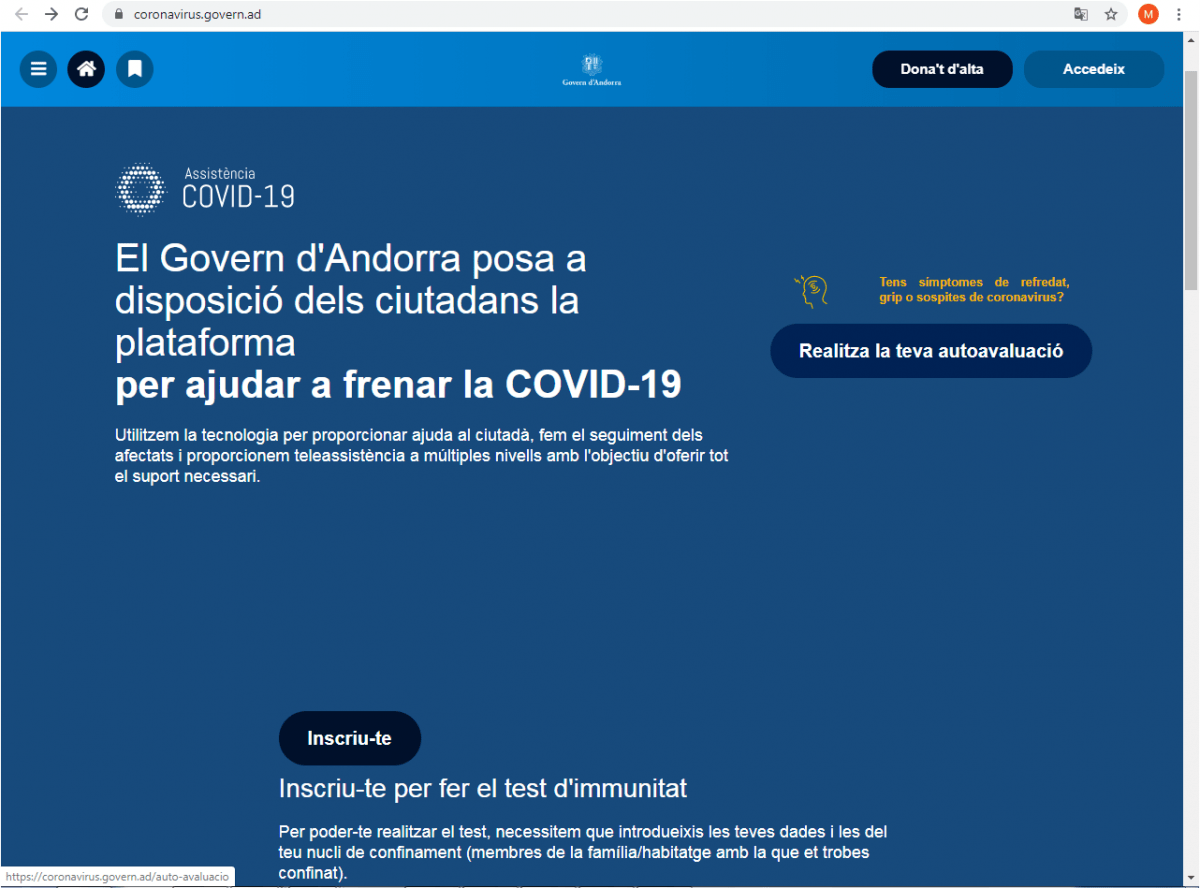 Captura de pantalla del web coronavirus.govern. ad