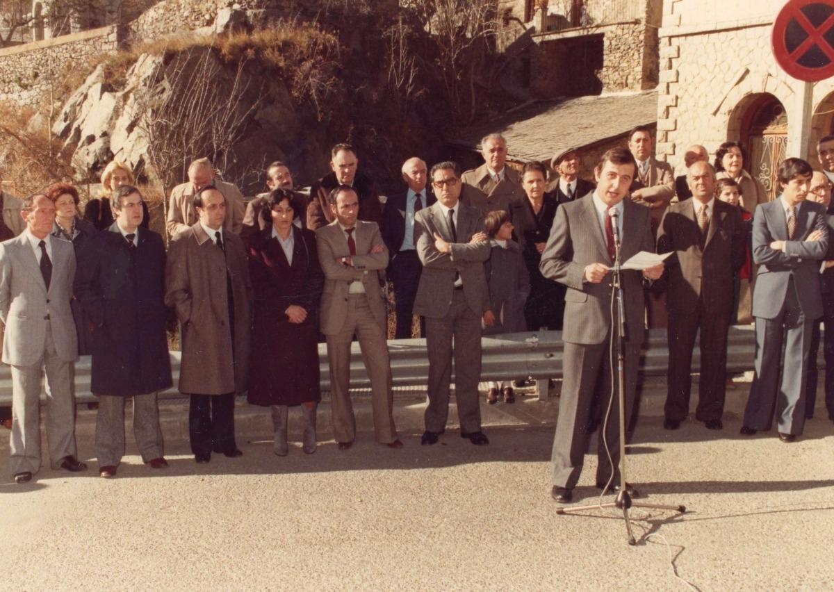 Puidellívol en l'acte de recepció del Copríncep Giscard d'Estaing, el 19 d'octubre de 1978.