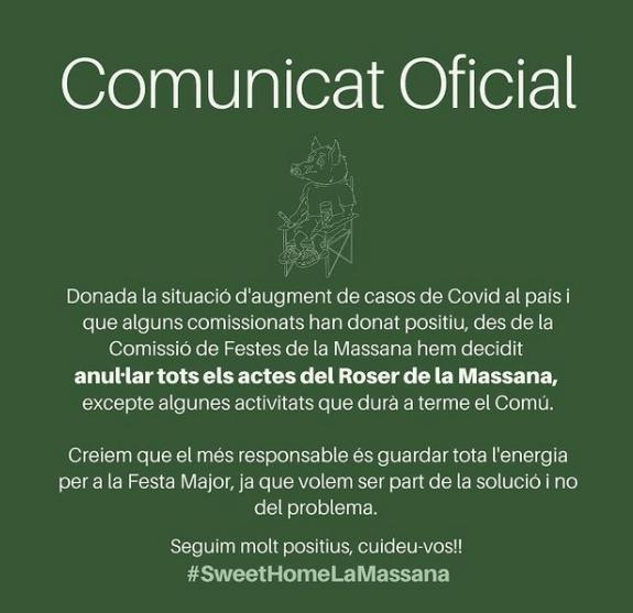 El comunicat oficial.