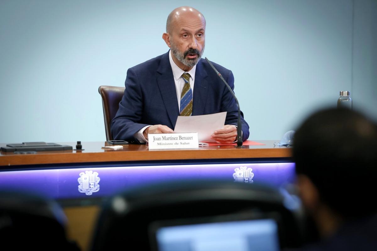El ministre de Salut, Joan Martínez Benazet, en la compareixença d'avui.