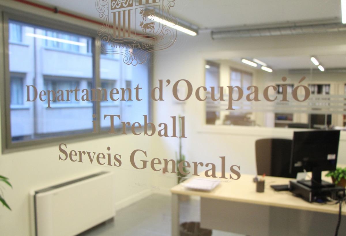 Porta d'entrada al departament d'Ocupació i Treball
