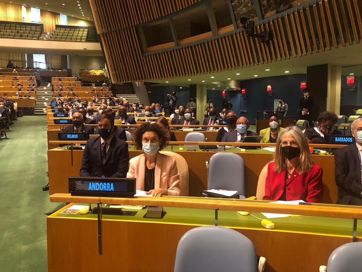 Ubach en la l'obertura de la 76a sessió de l'Assemblea General de l'ONU.