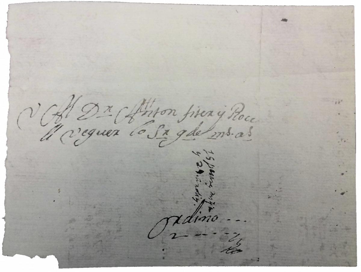 Reivindicació de Fiter i RossellCarta dirigida a Anton Fiter i Rossell, un dels escassos documents on es fa referència al càrrec de veguer, que va exercir des del 1737.