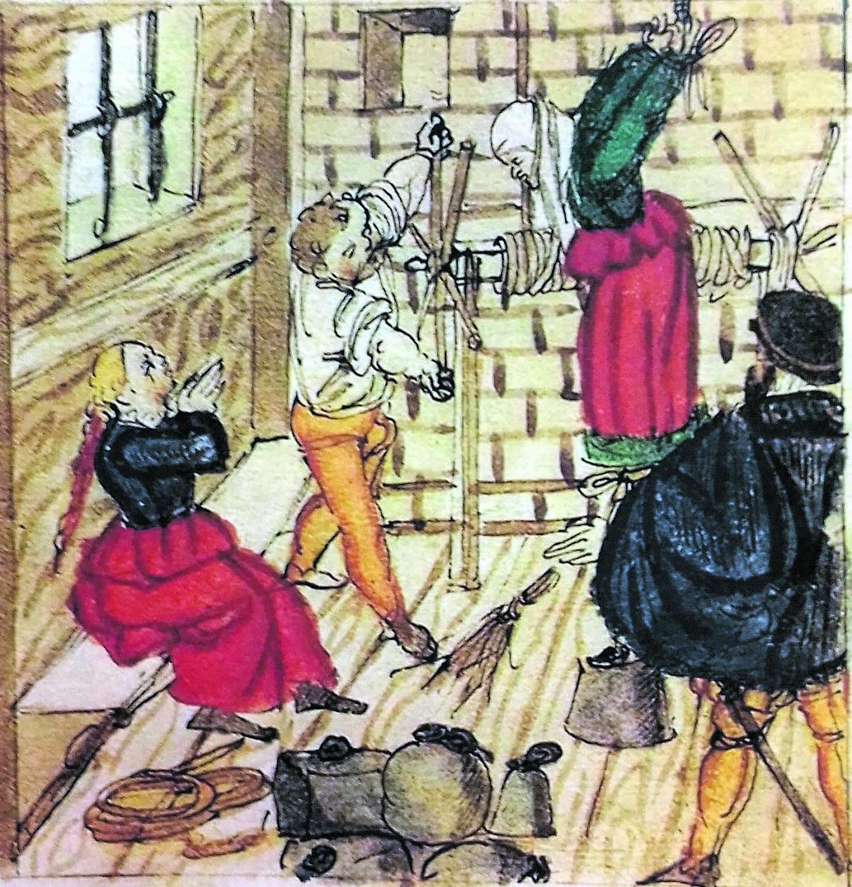 El turment de l'estrep, penjar el reu pels polzes –i per l'esquena!– segons un dibuix suís del 1568.