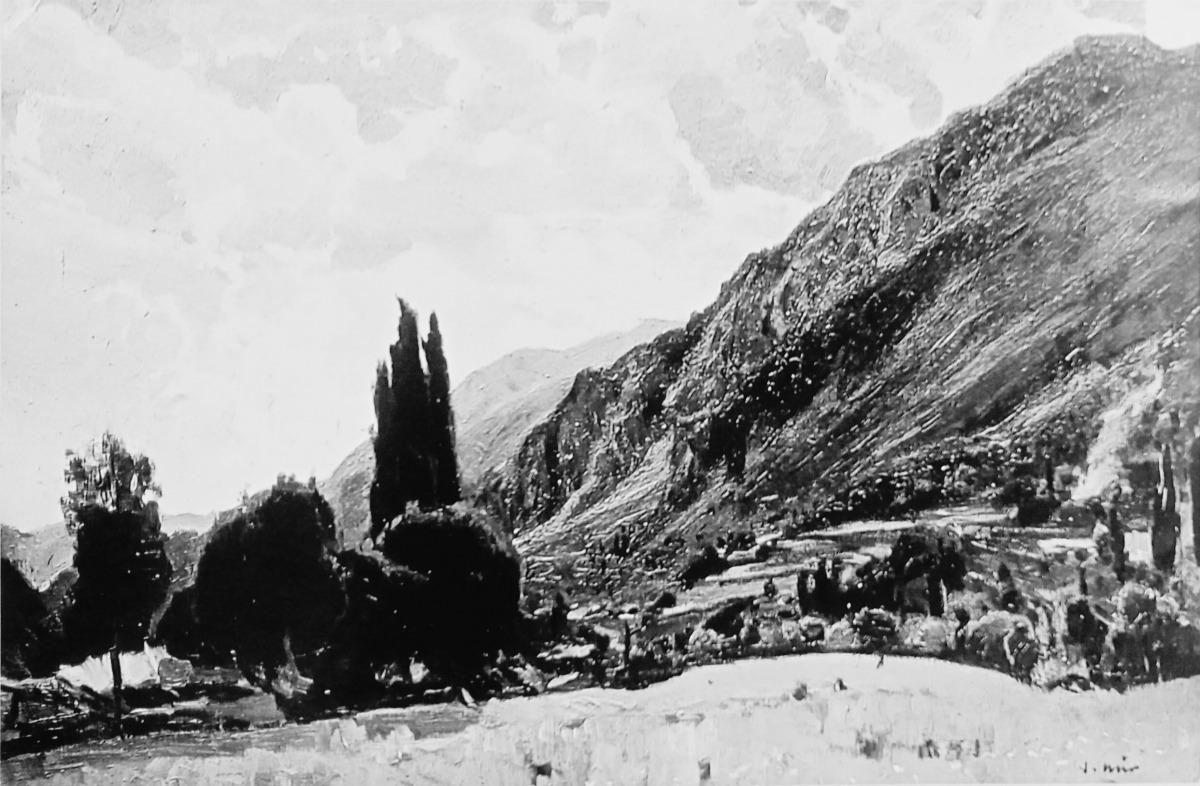 L'única fotografia que es conserva de 'Crepuscle', el gener del 1934 quan va ser exposat a la biblioteca del monestir de Montserrat.